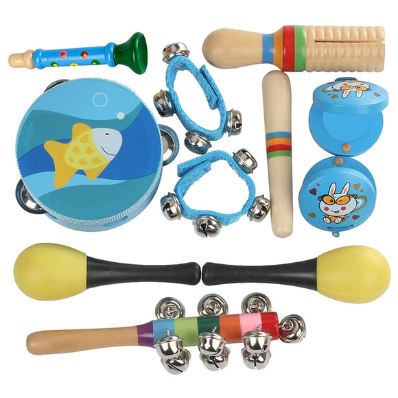 Percussion Musical Instrument Toy Kit Drum Bell Horn Hammer Tambourine Castanets Wooden Stick for Kids Baby Early Education 11PCS - ziloqa