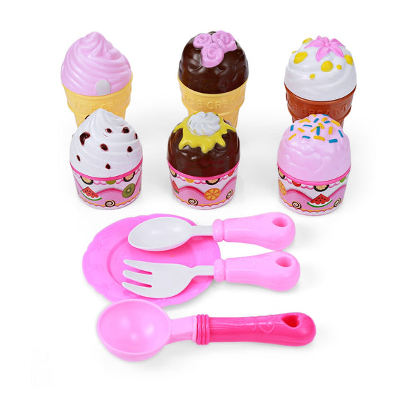 Kids Household Playset Simulation Ice Cream Cake Kitchen Colorful Toy with Sticker - ziloqa