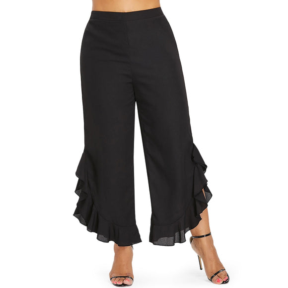 Plus Size Ruffle Wide Leg Women Pants - ziloqa