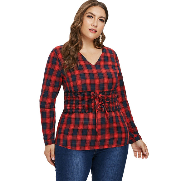 Plus Size Lace Up Corset Tartan Shirt - ziloqa