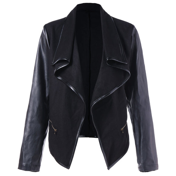 Open Front PU Leather Panel Jacket - ziloqa