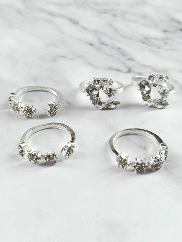 5Pcs Vintage Moon Star Shape Joint Rings