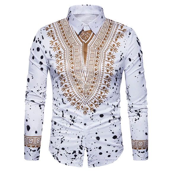 Ethnic Geometric Splatter Paint Print Shirt - ziloqa