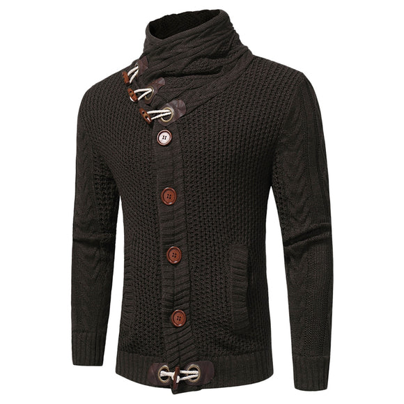 Cowl Neck Horn Button Single Breasted Cardigan - ziloqa
