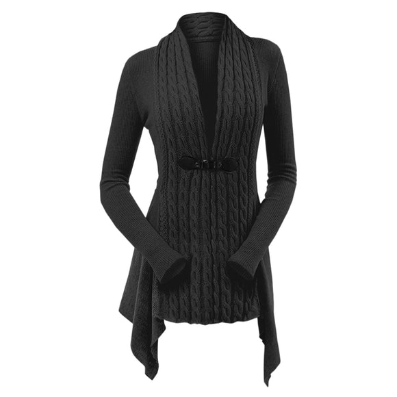 Cable Knit Buckle Asymmetrical Cardigan - ziloqa