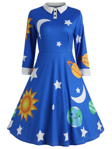 Flare Vintage Sun and Moon Print Dress - ziloqa