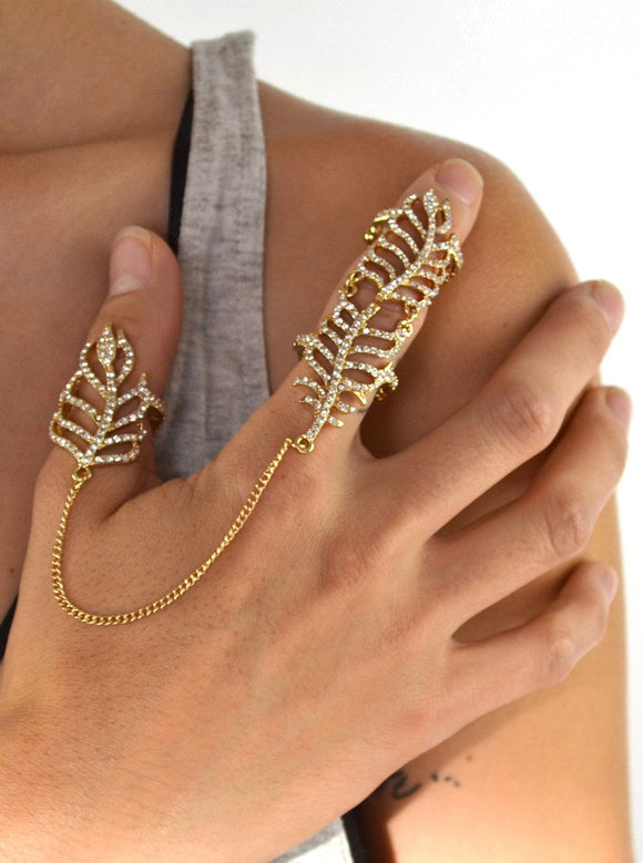 Ziloqa Crystal Leaf Chain Linked Full Finger Knuckle Ring