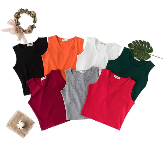 Sexy Summer Women Candy Color Cotton Tanks Camisole Fitness T Shirt Top Basic Tank Top Crop Blusas Vest Camisole