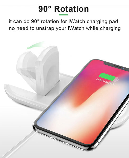 10W Fast 2 in 1 Wireless Charger Charging Pad for Smart Phone and Apple Watch