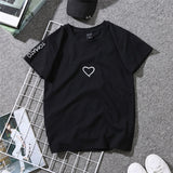 Summer Couples Lovers T-Shirt For Women Casual White Tops Tshirt Women T Shirt Love Heart Embroidery Print T-Shirt Female