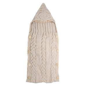 Baby Infant Swaddle Wrap Warm Wool Blends Crochet Knitted Hoodie Soft Swaddling Wrap Blanket Sleeping Bag - ziloqa