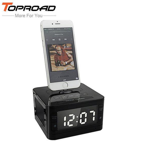 TOPROAD Wireless Bluetooth Speaker 8 Pin Charger Dock Station FM Radio Alarm Clock Audio Music