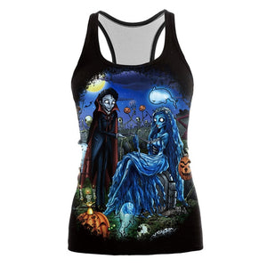 Arrival Tank Top Women Halloween Corpse Bride Blusa Jack-o'-lantern Pirnted Sleeveless Tops - ziloqa