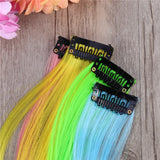 "Ziloqa Coloured Clip in Hair Extensions - 22"" Straight Fake Hair Pieces - Fashion Hairpieces for Party Highlights"