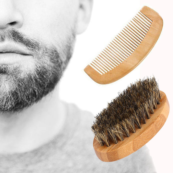 Men Boar Hair Bristle - Beard / Moustache Brush, Comb - Hard Oval Wood Handle