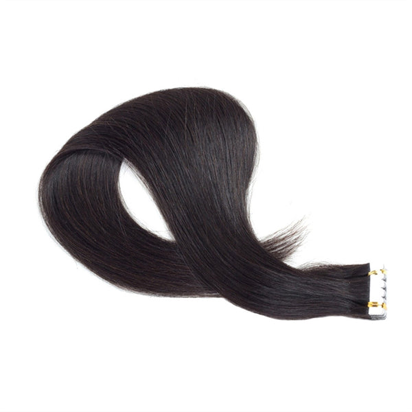 Tape In Virgin Human Hair Extensions - Human Hair for Women Beauty (Black Remy Hair)