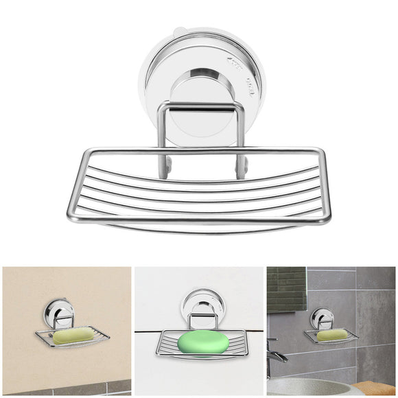Stainless Steel Soap Dish with Vacuum Soap Holder Wall Mounted Hollow Out Soap Container Rustproof