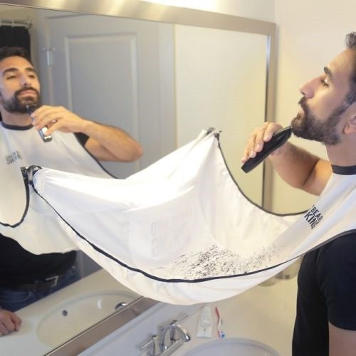 Male Beard Bib - Man Bathroom Black / White Beard Care Trimmer Hair Shave Bib - Men Waterproof Cleaning Protect