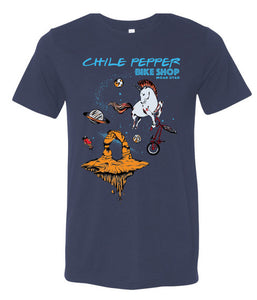 Chile Pepper Bike Shop - Cosmic Unicorn - Mens Tee Shirt - Navy