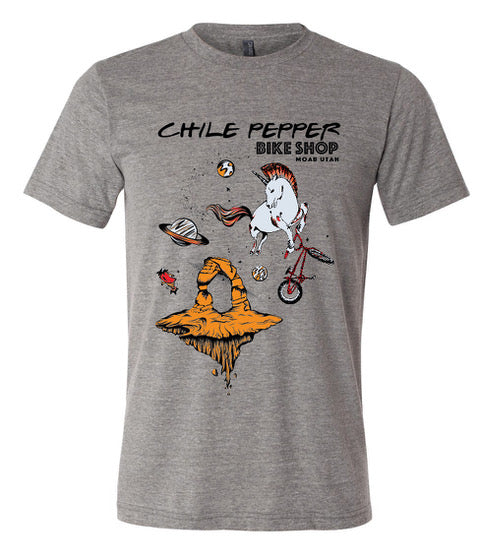 Chile Pepper Bike Shop - Cosmic Unicorn - Mens Tee Shirt - Grey Heather