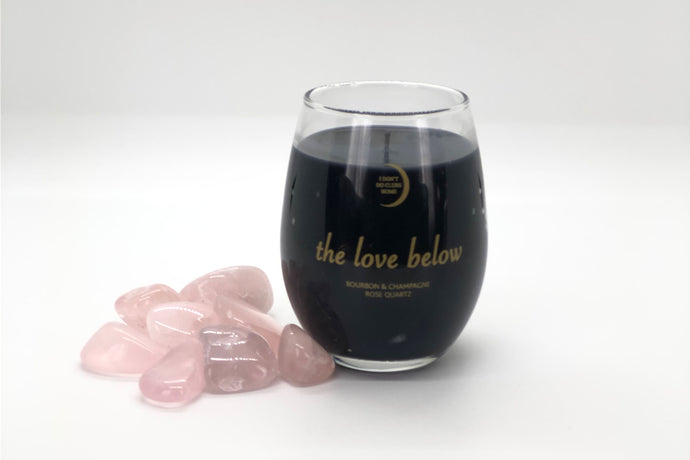 The Love Below Rose Quartz Black Wax Candle