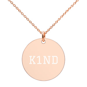 K1ND Engraved Silver Disc Necklace