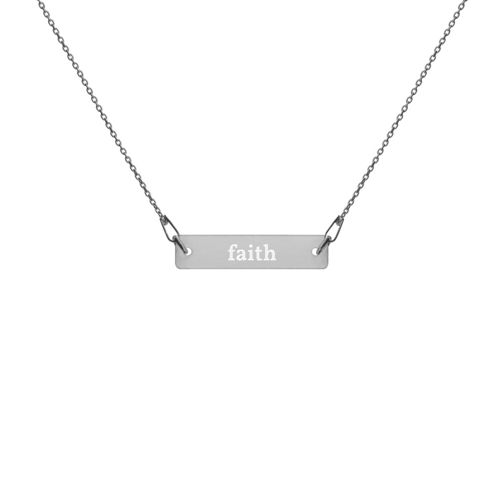 Faith Engraved Silver Bar Chain Necklace