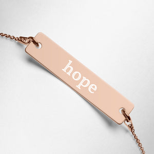 Hope Engraved Silver Bar Chain Necklace