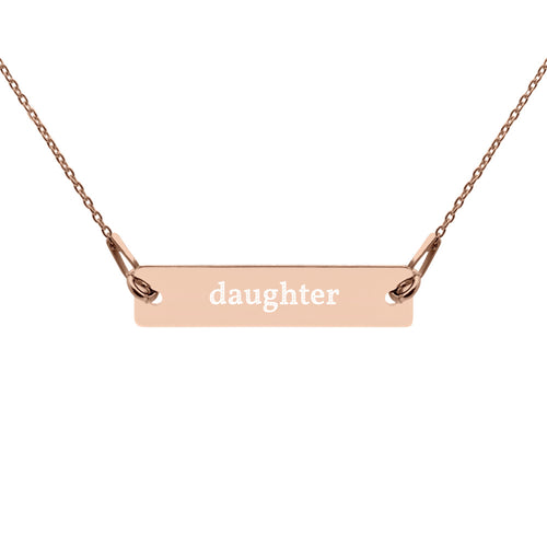 Daughter Engraved Silver Bar Chain Necklace