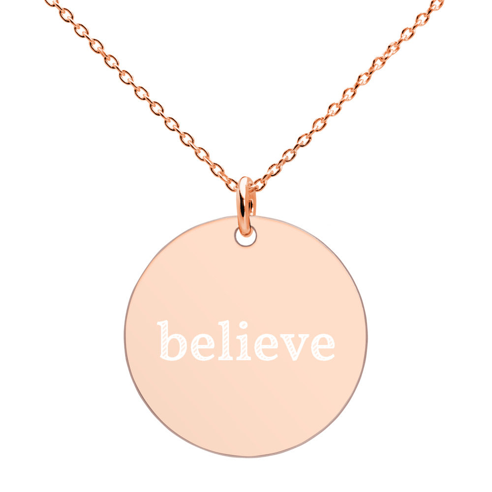 Believe Engraved Silver Disc Necklace