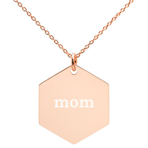 Mom Engraved Silver Hexagon Necklace