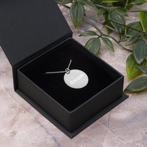 Dream Engraved Silver Disc Necklace