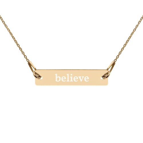Believe Engraved Silver Bar Chain Necklace