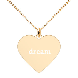 Dream Engraved Silver Heart Necklace