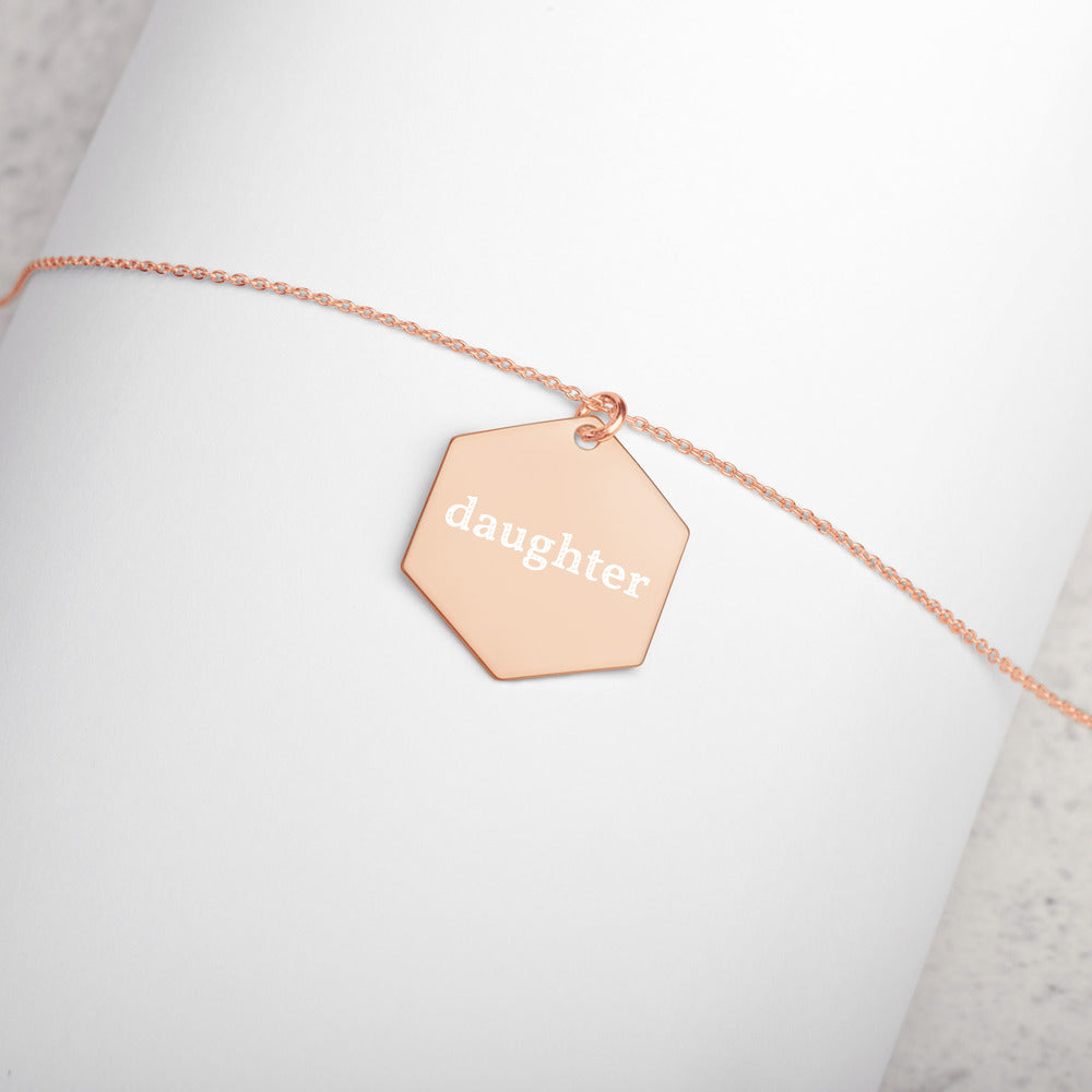 Daughter Engraved Silver Hexagon Necklace