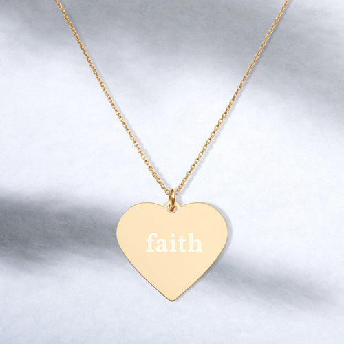 Faith Engraved Silver Heart Necklace