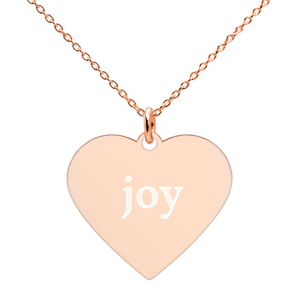 Joy Engraved Silver Heart Necklace