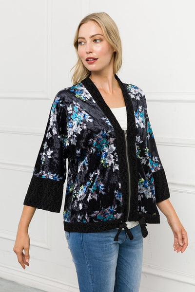 Cai Mixed Velvet Print Jacket