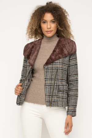 Cala Shearling Plaid Jacket