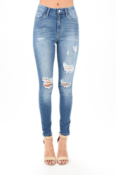 Monroe High Waisted Destroyed Stretch Jeans