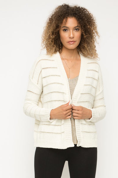 Giuliana Glitter Stripe Cardigan Sweater