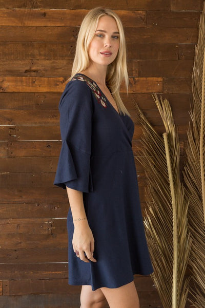 Hannah Embroidered Wrap Dress