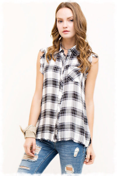 Stevie Button Down Plaid Shirt