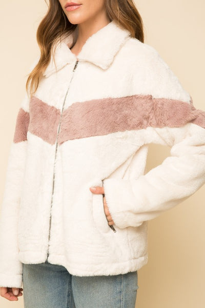Lana Color Block Fur Bomber Jacket