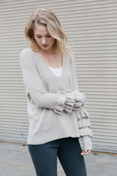 Jazlyn Ruffle Sleeve V-Neck Pullover Sweater