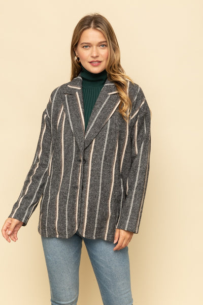 Vertical Stripe Midi Jacket