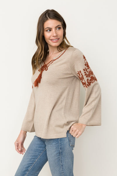 Mikayla V-Neck Embroiderd Sweater Top