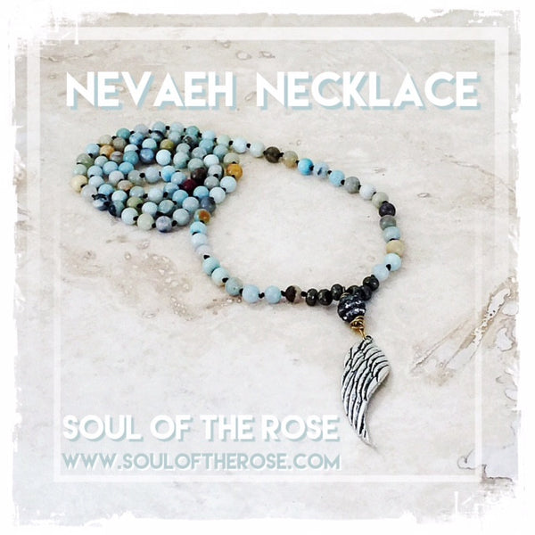 Nevaeh Semi Precious Stone Wing Necklace - Soul Of The Rose®