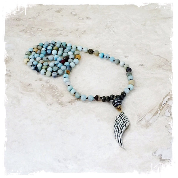 Nevaeh Semi Precious Stone Wing Necklace