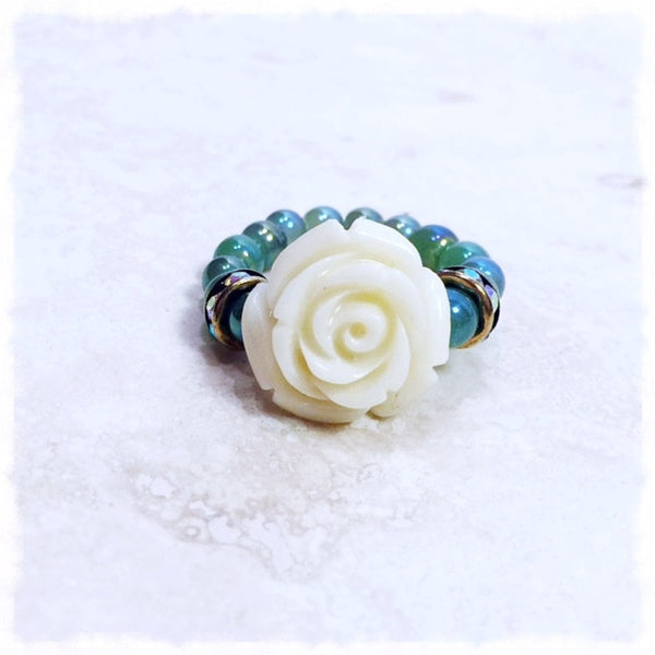Petite Rosa Bianca Love Beads Ring - Soul Of The Rose®